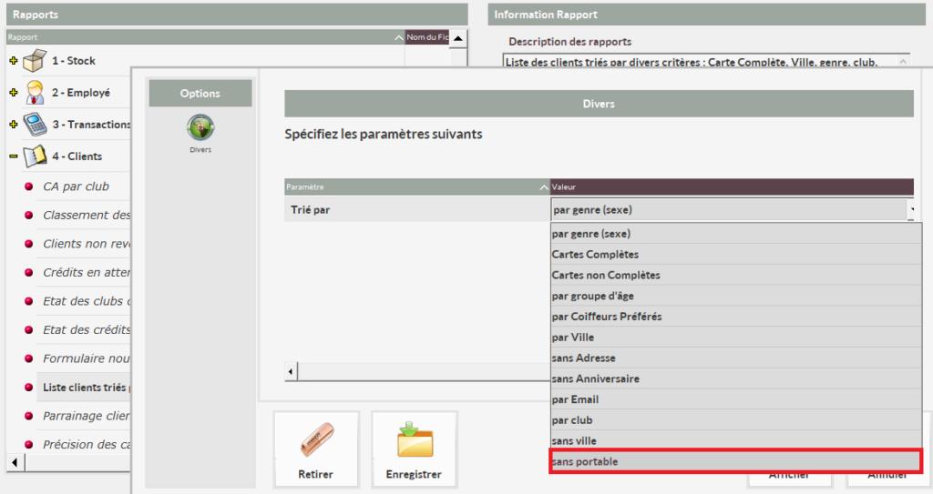 Nouveau rapport Shortcuts Liste clients triés par avec la possibilité de sélectionner les clients sans portable.