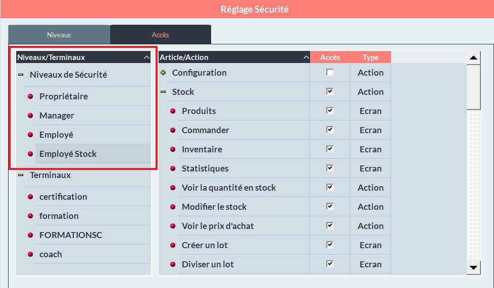 configurer les accès, réglages sécurités Shortcuts